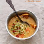 Vellutata di carote, arance, lenticchie rosse (e germogli varii)
