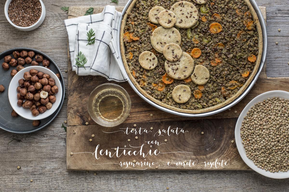 Torta salata con lenticchie rosmarino e carote rosolate