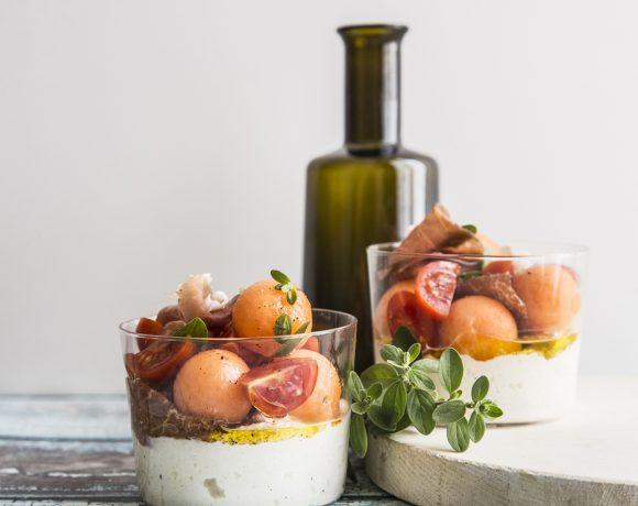 Bicchierini-caprese al prosciutto e melone
