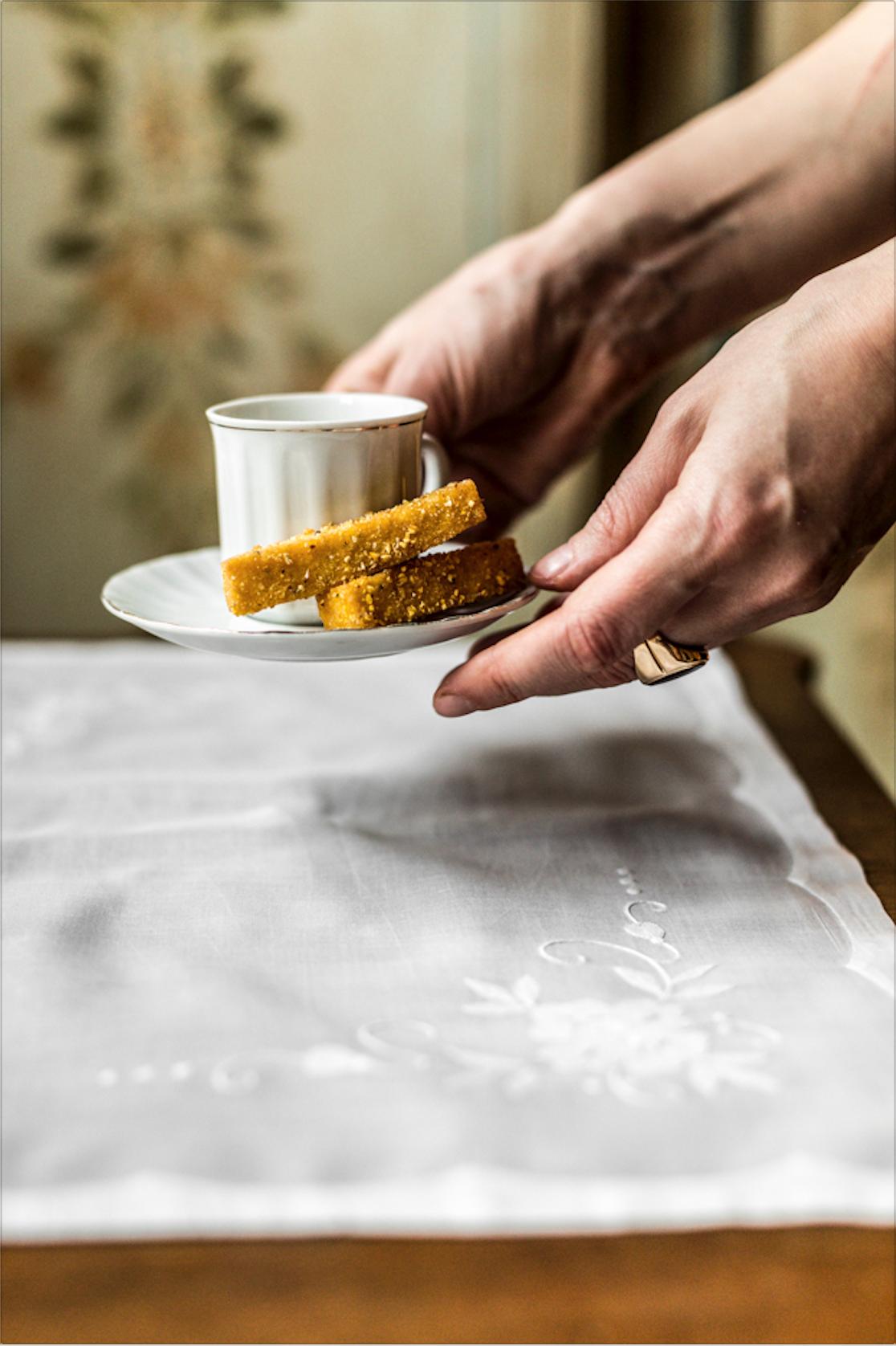 Polenta fritta con crema di gorgonzola di capra